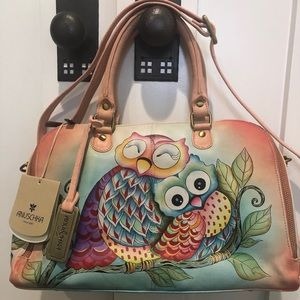 "Anuschka ""Owl Love"" Signed Hand Painted Satchel"